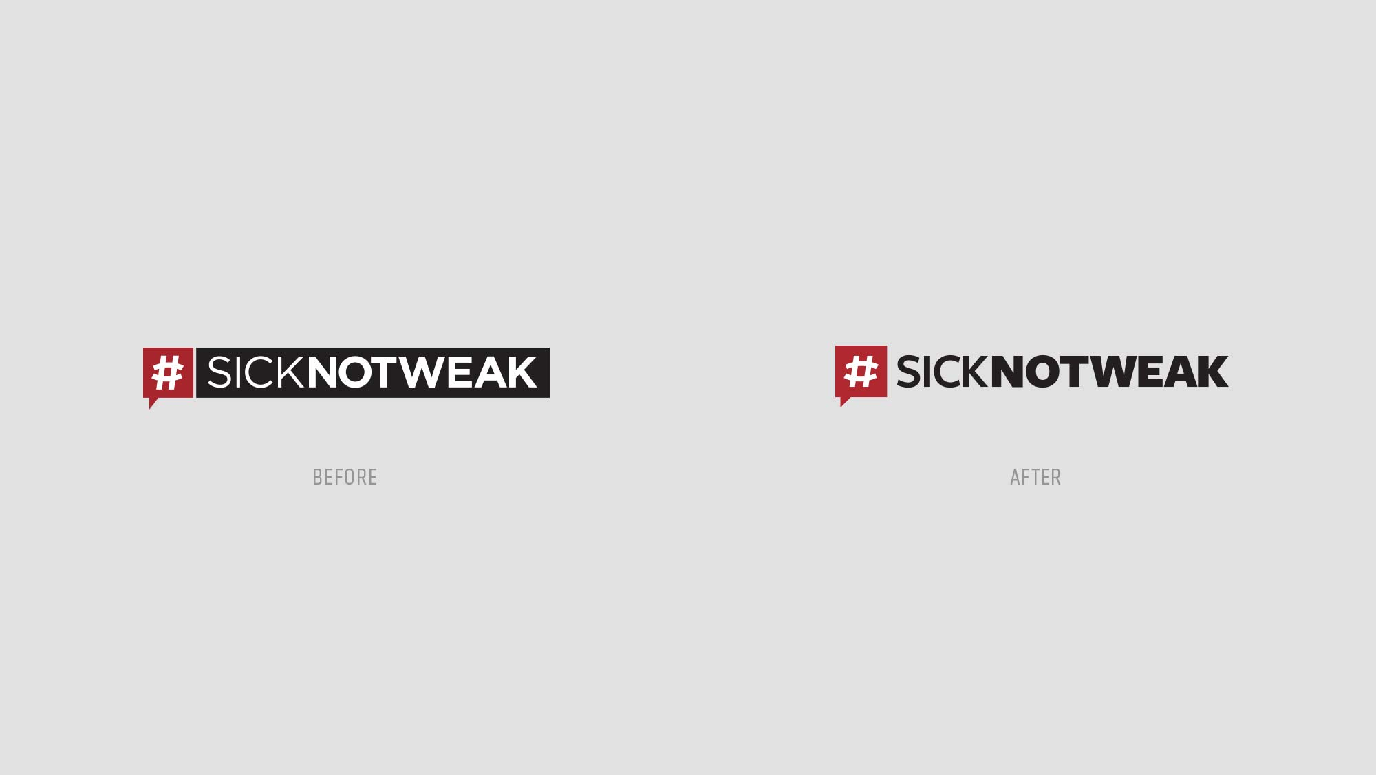 SickNotWeak Before & After Logo Design
